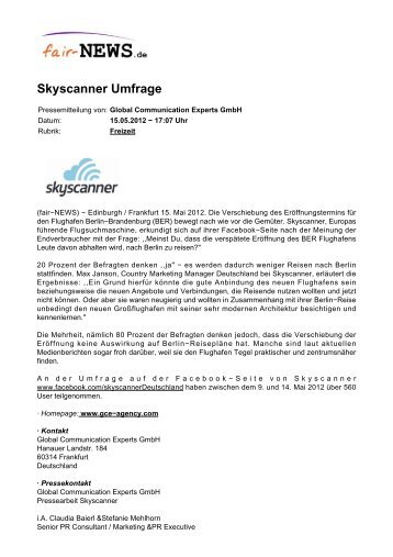 PDF :: fair-NEWS.de :: Skyscanner Umfrage