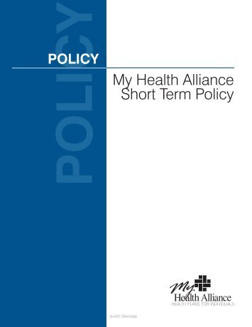 My Health Alliance Short Term Policy - My Health Alliance Insurance