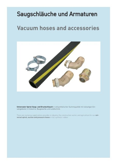 Vacuum hoses and accessories - Schmitter Hydraulik GmbH