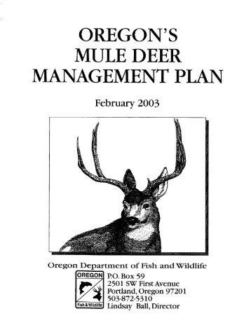 OREGON'S MULE DEER MANAGEMENT PLAN