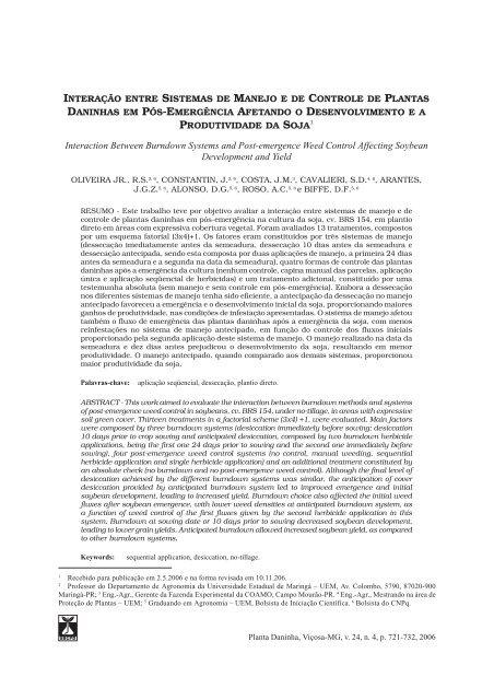 Interação entre sistemas de manejo e de controle de plantas ...