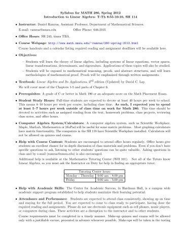 Course Syllabus - Department of Mathematical Sciences