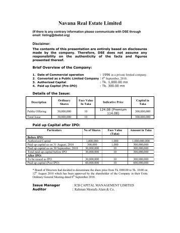 Navana Real Estate Ltd - Dhaka Stock Exchange