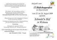 17. Hofschoppenfest mit Bauernmarkt vom 22. - Schmitt'n Hof Wohnau