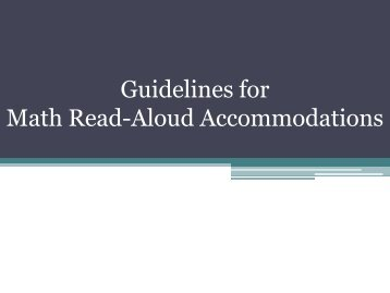 Guidelines for Math Read-Aloud Accommodations