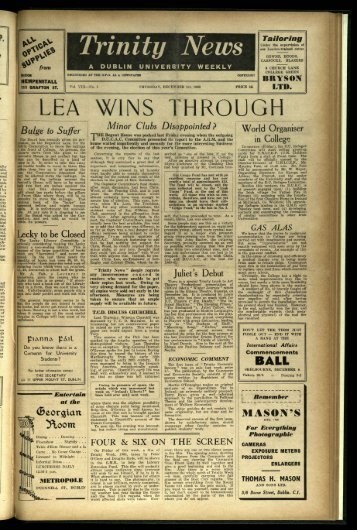 LEA WINS THROUGH - Trinity News Archive