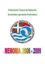 Memoria Deportiva 2008-2009 - Federación Vasca de Natación.