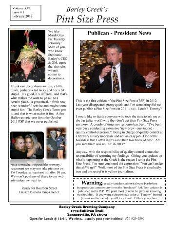 Pint Size Press Feb. 2012 - Barley Creek Brewing Company