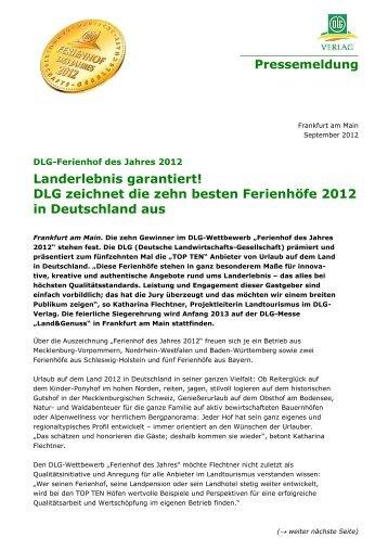 DLG zeichnet die zehn besten Ferienhöfe 2012 in ... - Gut Dalwitz