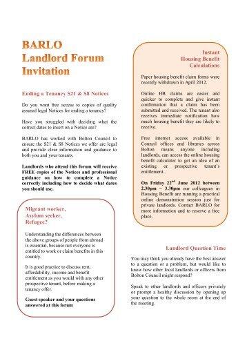 BARLO Landlords Forum - Bolton Landlord Accreditation Scheme