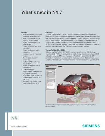 What's new in NX 7 Fact Sheet - Siemens PLM Software