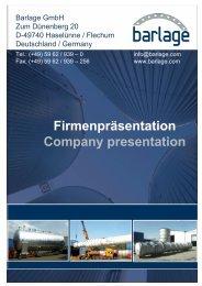 Firmenpräsentation Company presentation - Barlage GmbH