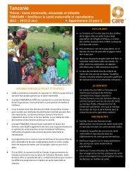 Tanzanie Thème : Santé maternelle, néonatale et ... - CARE Canada