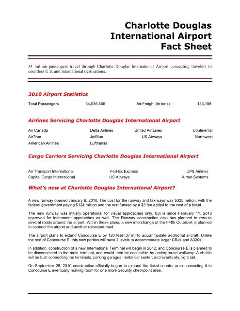 Charlotte Douglas International Airport Fact Sheet