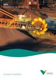 Relatório de Sustentabilidade 2011 - Versão para ... - Vale.com