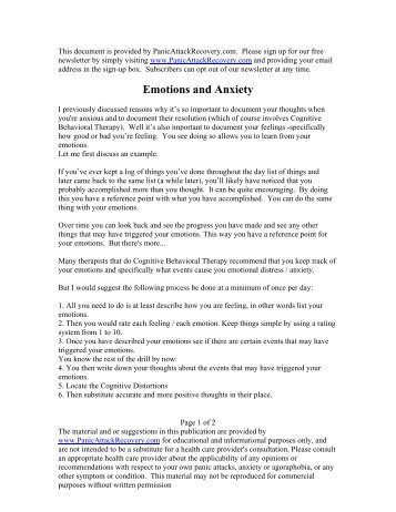 Emotions and Anxiety - Help & Recovery for Panic Attacks