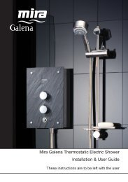 Installation & User Guide Mira Galena Thermostatic Electric Shower