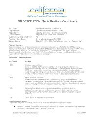 JOB DESCRIPTION: Media Relations Coordinator - California Tourism