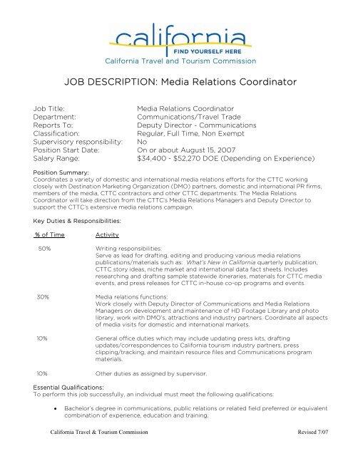JOB DESCRIPTION: Media Relations Coordinator - California