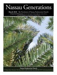 March 2010 The Newsletter of Nassau Presbyterian Church