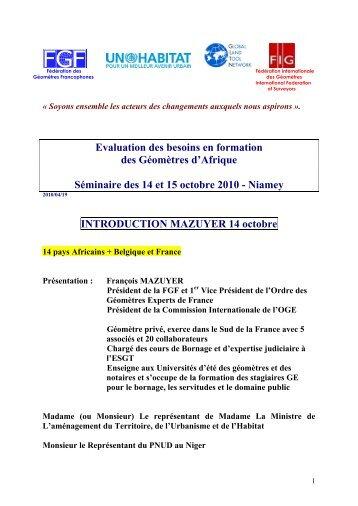 Niamey - Fédération des Géomètres Francophones