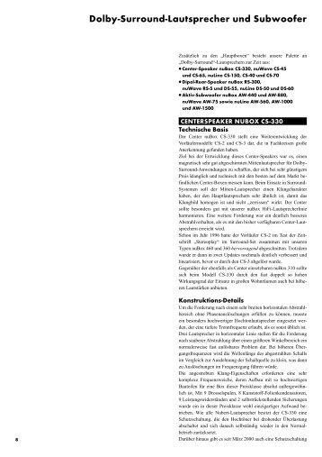 Dolby-Surround-Lautsprecher und Subwoofer