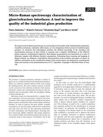 Micro-Raman spectroscopy characterization of glass/refractory ...