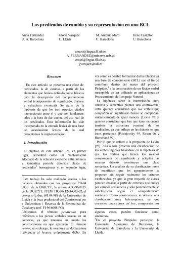 Los predicados de cambio y su representación en una BCL - sepln