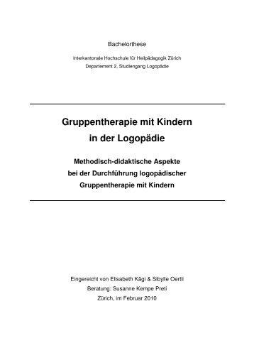 Gruppentherapie mit Kindern in der Logopädie Methodisch - BSCW