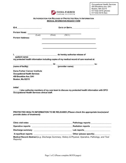 Medical Record Request Form - Dana-Farber Cancer Institute