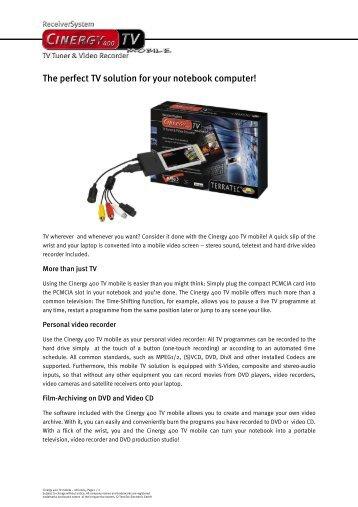 Terratec Cinergy 400 TV Mobile Treiber Windows 10