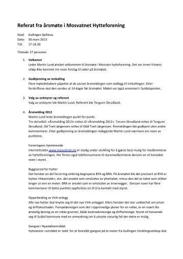 Referat fra årsmøte i Mosvatnet Hytteforening
