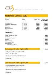 Mietpreise Seminar 2013 - Villa Sunneschy