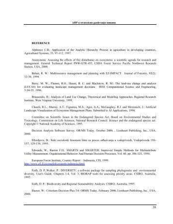 REFERENCE Alphonce C.B.: Application of the Analytic Hierarchy ...