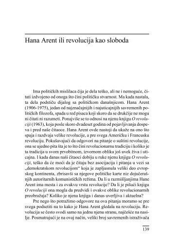 Hana Arent ili revolucija kao sloboda - komunikacija