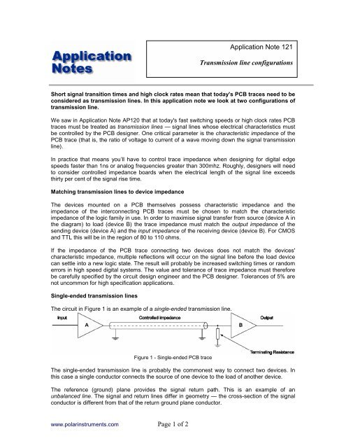 Page 1 Of 2 Application Note 121 Transmission Line Polar