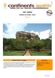 SRI LANKA - Continents Insolites
