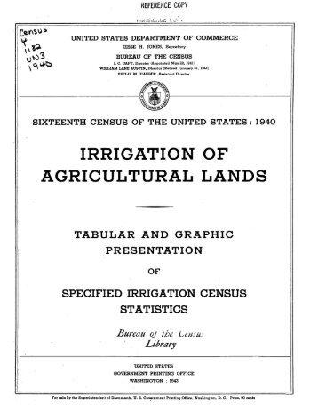 irrigation of agricultural lands - USDA Economics and Statistics System