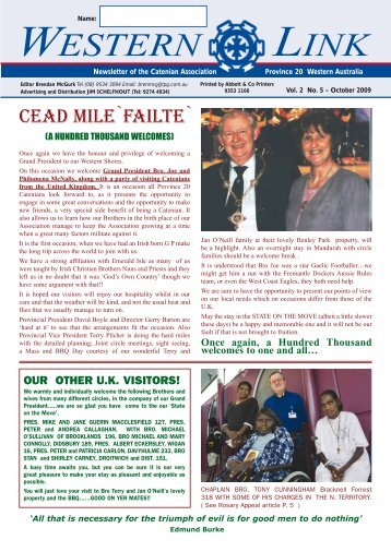 Western Link - Vol 2 No 5 October 2009 - Province 20 Catenians of ...