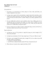 Phys 3200 Heat Light and Sound Assignment 3 Concept ... - Physics