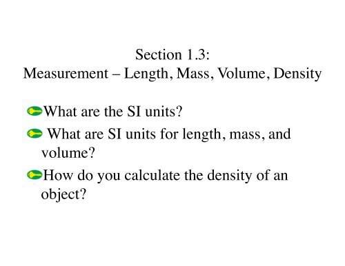 Ch  1 3 SI Units Measuring Mass Volume Density pdf
