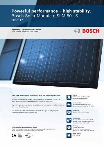 high stability. Bosch Solar Module c-Si M 60+ S