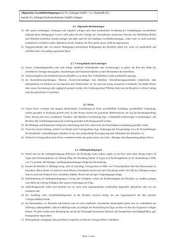 Allgemeine Geschäftsbedingungen der Fa. Schnupp GmbH +  Co ...