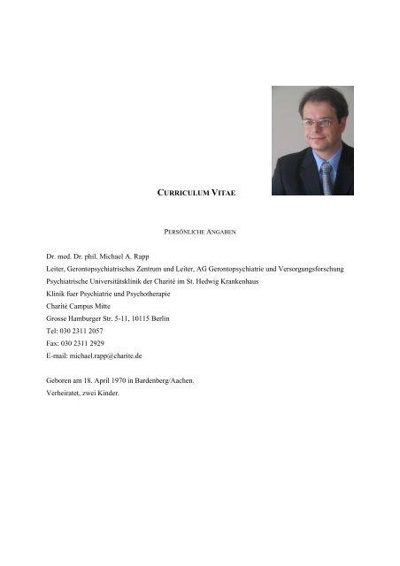 CURRICULUM VITAE Dr  med  Dr  phil  Michael A  Rapp Leiter