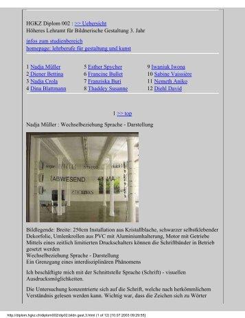 HGKZ Diplom 002 : >> Uebersicht Höheres Lehramt für ... - eMuseum