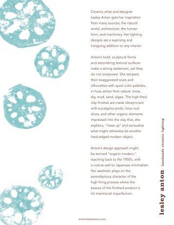 Ceramic artist and designer Lesley Anton gets her inspiration from ...