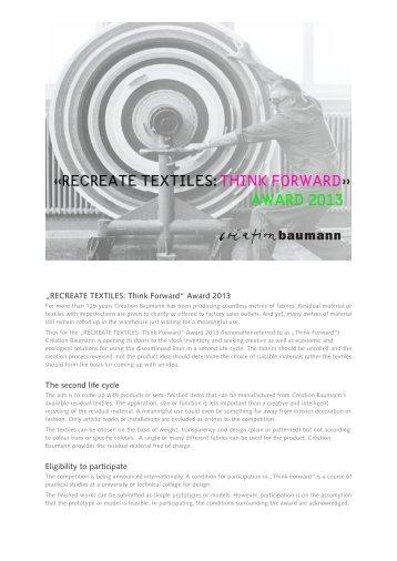 RECREATE TEXTILES: Think Forward - Création Baumann AG
