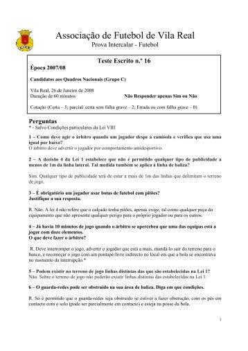 Teste n.º 16 - Associação de Futebol de Vila Real