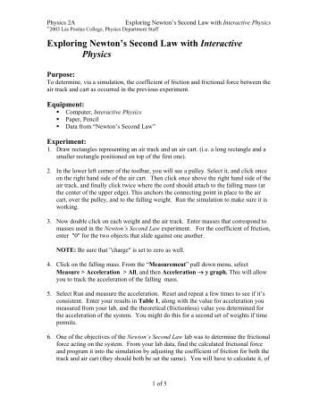 physics newtons 2nd law lab View lab report - experiment 5 newton's 2nd law from physics 221 at university of mississippi experiment 5 newtons second law sangeet adhikari lab partner: hannah miceli, zachery bobo abstract the.