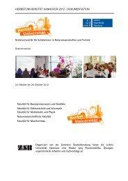 Dokumentation 2012 - Zentrale Studienberatung der Leibniz ...